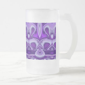 Purple Flower Dreams Frosted Glass Beer Mug