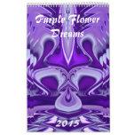 Purple Flower Dreams Wall Calendar