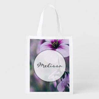 Purple Flower, Elegant Floral Photograph Market Totes
