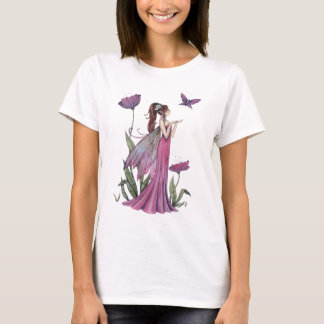Purple Flower Fairy and Butterfly Fantasy Art T-Shirt