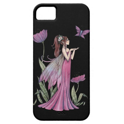 Purple Flower Fairy and Butterfly iPhone Case