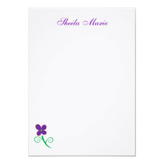 "Purple Flower Flat Card 4.5"" X 6.25"" Invitation Card"