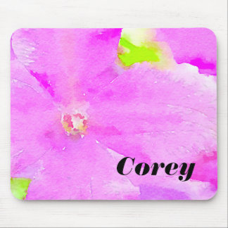 Purple Flower Floral Watercolor Background Mouse Pad