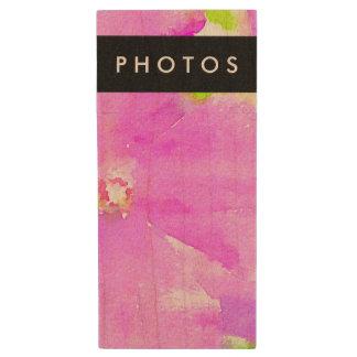 Purple Flower Floral Watercolor Background Wood USB Flash Drive