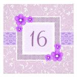 Purple Flower Frame Sweet16 Birthday invite