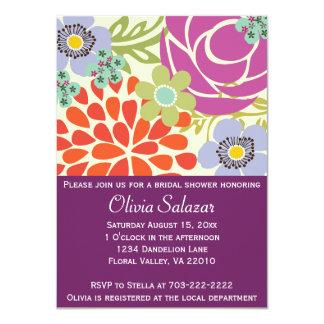 Purple Flower Garden Bridal Shower Invitations