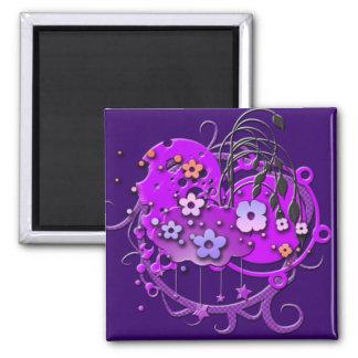 Purple Flower Grunge Magnet