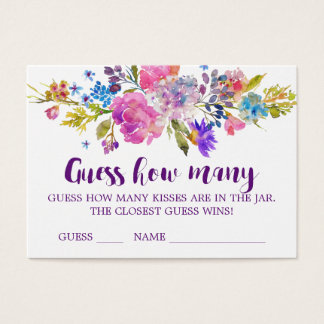Purple Flower Guess How Many Kisses Game Cards