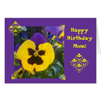Purple flower: Happy B-day! mom/other Greeting Card