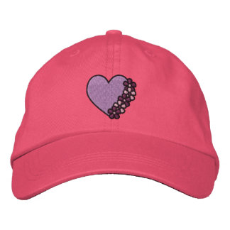 Purple Flower Heart Embroidered Hat