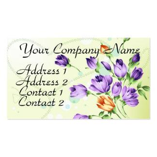 Purple Flower Hearts Business Card
