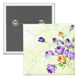 Purple Flower Hearts Pinback Button