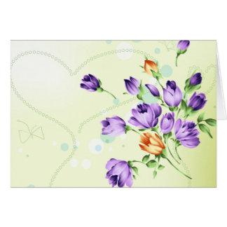 Purple Flower Hearts Cards