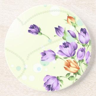 Purple Flower Hearts Drink Coasters