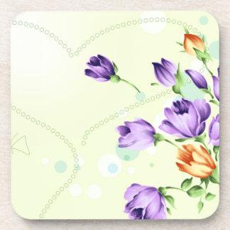 Purple Flower Hearts Coaster