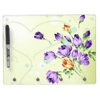 Purple Flower Hearts Dry Erase Board With Keychain Holder