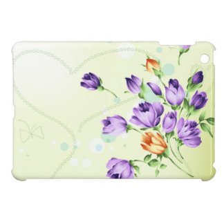 Purple Flower Hearts iPad Mini Case