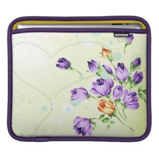 Purple Flower Hearts iPad Sleeve