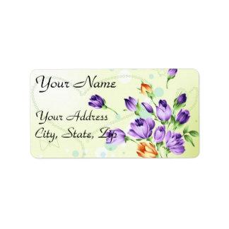 Purple Flower Hearts Custom Address Labels