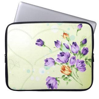 Purple Flower Hearts Laptop Sleeves