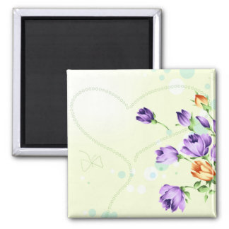 Purple Flower Hearts Fridge Magnets