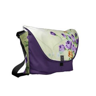 Purple Flower Hearts Messenger Bags
