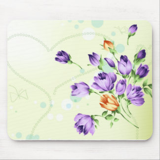 Purple Flower Hearts Mousepad