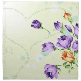 Purple Flower Hearts Printed Napkins