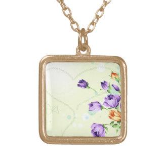 Purple Flower Hearts Pendants