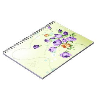 Purple Flower Hearts Note Books