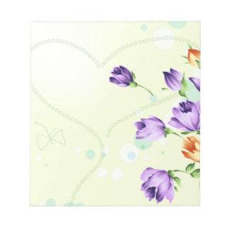 Purple Flower Hearts Scratch Pad
