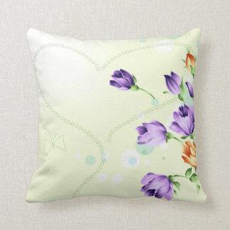 Purple Flower Hearts Throw Pillow