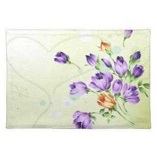 Purple Flower Hearts Place Mat