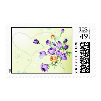 Purple Flower Hearts Postage Stamps