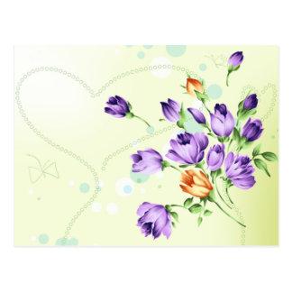 Purple Flower Hearts Postcard