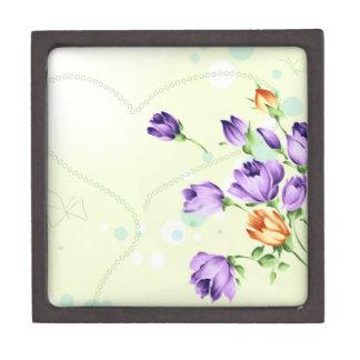 Purple Flower Hearts Premium Keepsake Box