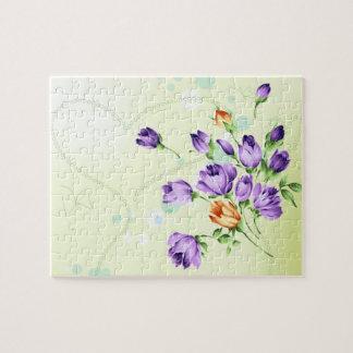 Purple Flower Hearts Jigsaw Puzzles