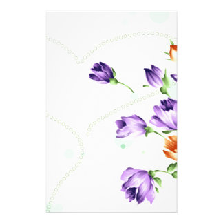 Purple Flower Hearts Personalized Stationery