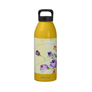 Purple Flower Hearts Reusable Water Bottle