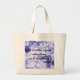 Purple flower Helen Keller quote tote bag. Jumbo Tote Bag