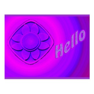 purple flower hello postcard