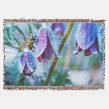 Purple Flower Honey Bee Throw Blanket