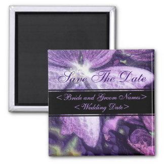 Purple Flower Illustration Wedding Refrigerator Magnet