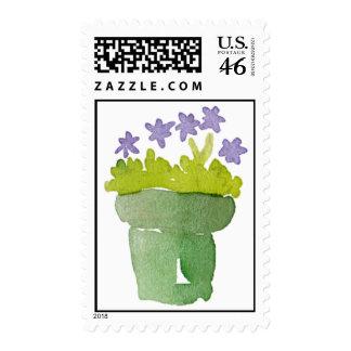 Purple flower in pot postage