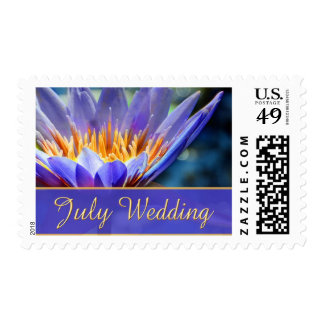 Purple Flower July Wedding Stamps