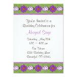 Purple Flower & Ladybug Birthday Invitation