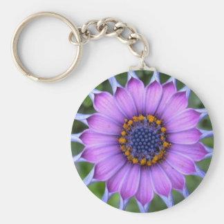 purple flower llavero redondo tipo pin