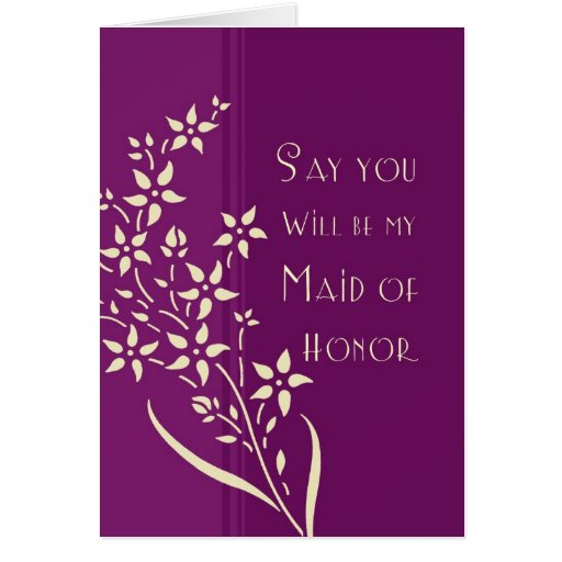 Purple Flower Maid Of Honor Invitation Card