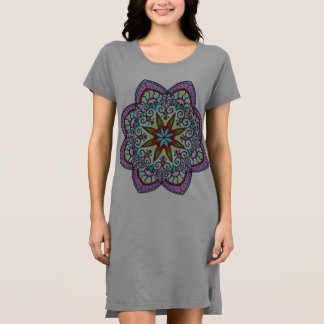 Purple Flower Mandala T-Shirt Dress / Flower Power