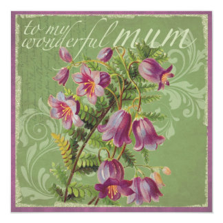 "Purple flower mother's day card 5.25"" square invitation card"